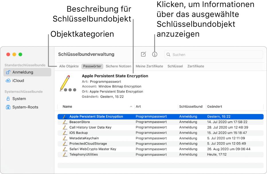 Das Fenster der Schlüsselbundverwaltung mit Schlüsselbunden in der Seitenleiste. Auf der rechten Seite wird eine Beschreibung des Passworts für den ausgewählten Anmeldeschlüsselbund angezeigt.