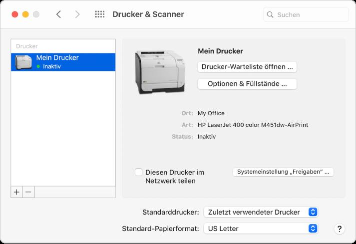 """Die Systemeinstellung """"Drucker & Scanner"""" enthält Optionen zum Einrichten eines Druckers und eine Druckerliste mit Tasten zum Hinzufügen und Entfernen von Druckern unten."""