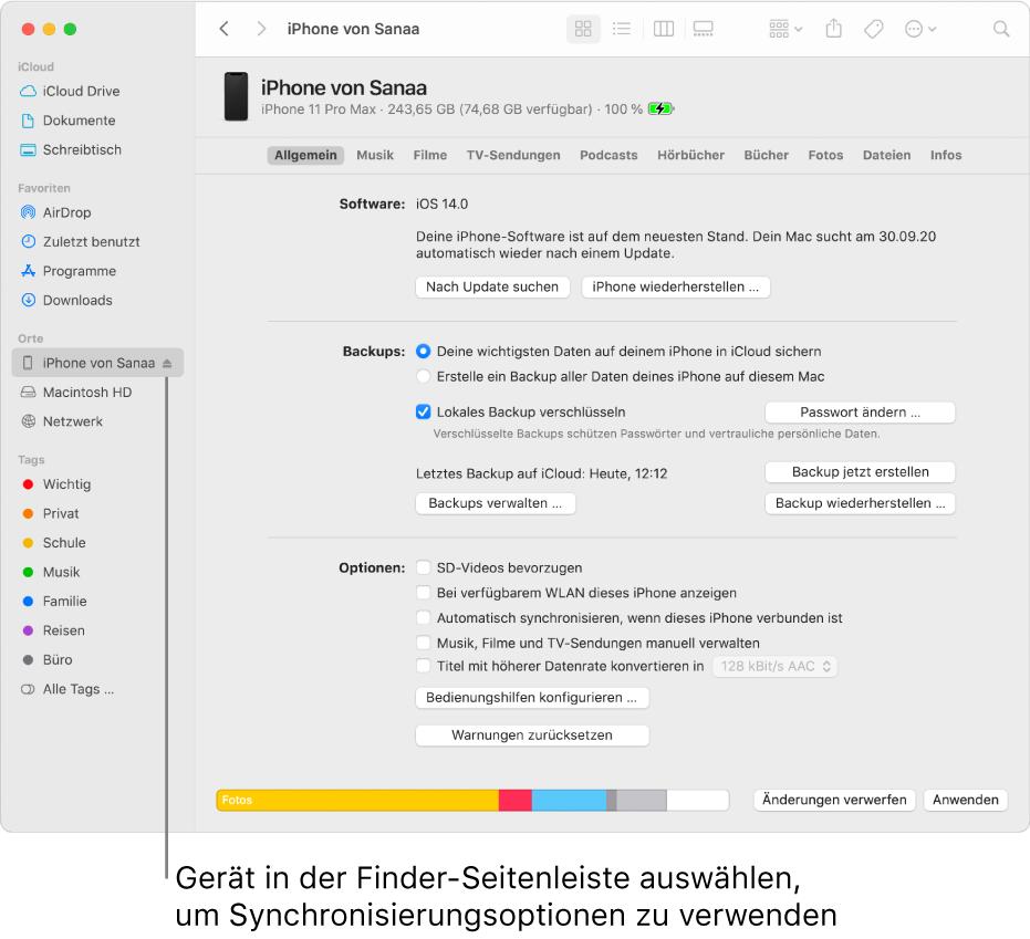 Ein in der Finder-Seitenleiste ausgewähltes Gerät und den im Fenster angezeigten Synchronisierungsoptionen