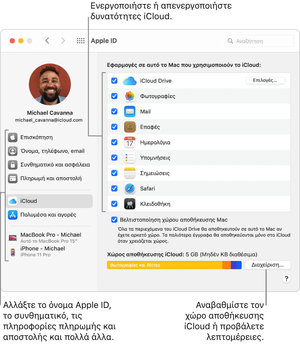 Προτιμήσεις iCloud με όλες τις δυνατότητες επιλεγμένες.