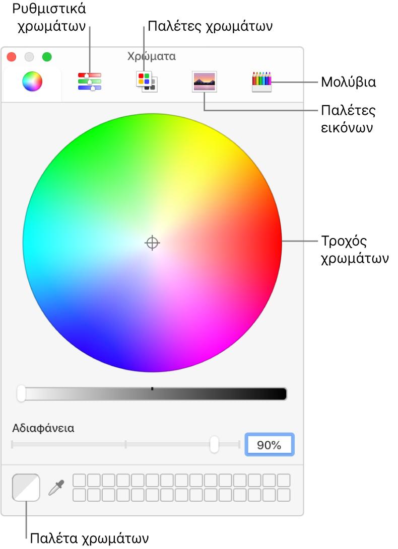 Το παράθυρο «Χρώματα». Στο πάνω μέρος του παραθύρου βρίσκεται η γραμμή εργαλείων με κουμπιά για ρυθμιστικά χρωμάτων, παλέτες χρωμάτων, παλέτες εικόνων, και μολύβια. Στη μέση του παραθύρου βρίσκεται ο τροχός χρωμάτων. Η παλέτα χρωμάτων βρίσκεται κάτω αριστερά.
