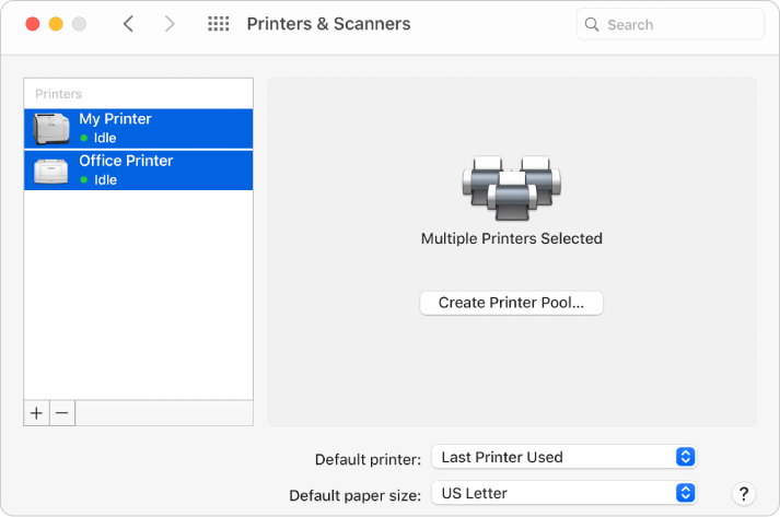 The Printer & Scanners dialogue showing two printers selected in the Printer list and the Create Printer Pool button on the right.