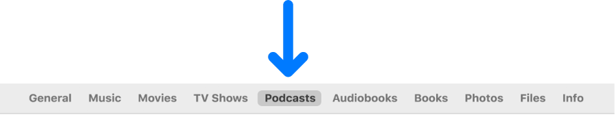 The button bar showing Podcasts selected.