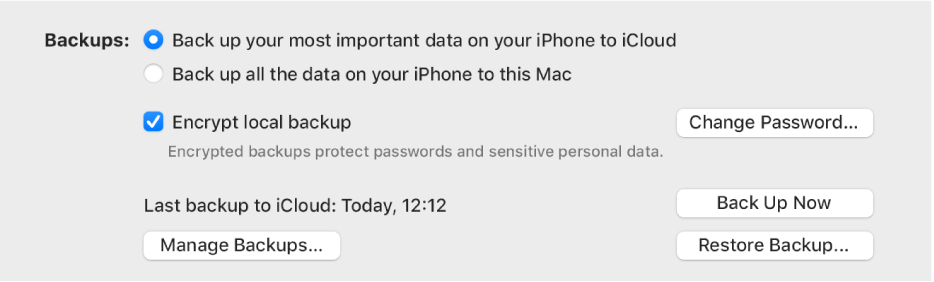 """The options for backing up data from a device appear, showing two buttons to select backing up to iCloud or onto the Mac, an """"Encrypt local backup"""" tickbox for encrypting backup data, and additional buttons for managing backups, restoring from a backup and starting a backup."""