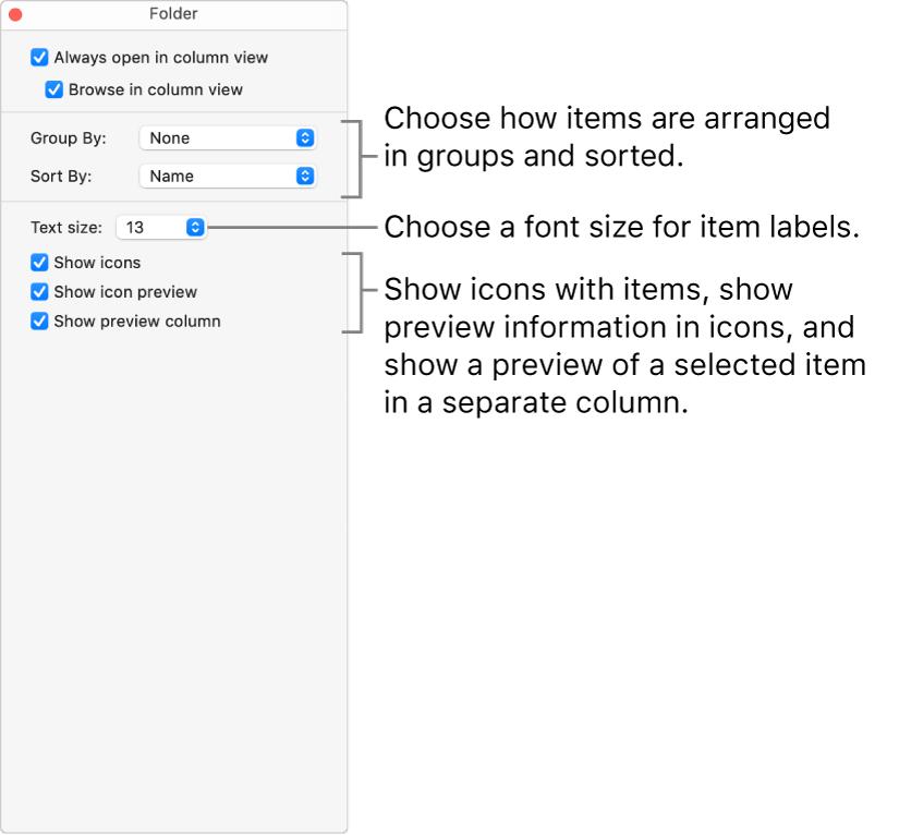 Column view options for a folder.