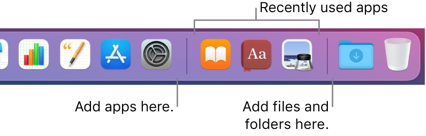 A portion of the Dock showing the separator lines between apps, recently used apps and files and folders.