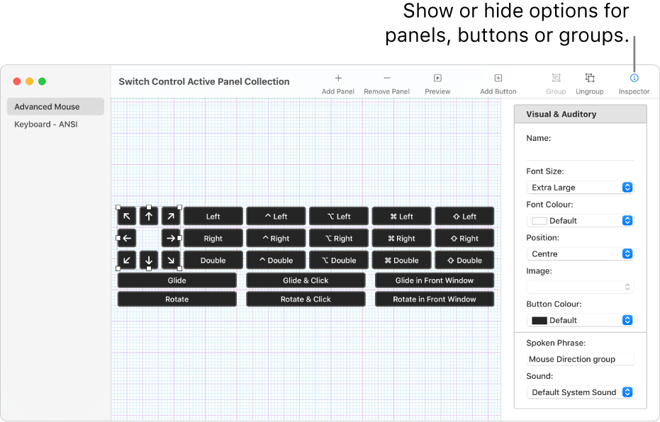 A Panel Collection window showing the Inspector button at the right end of the toolbar, for setting options for panels, buttons and groups.