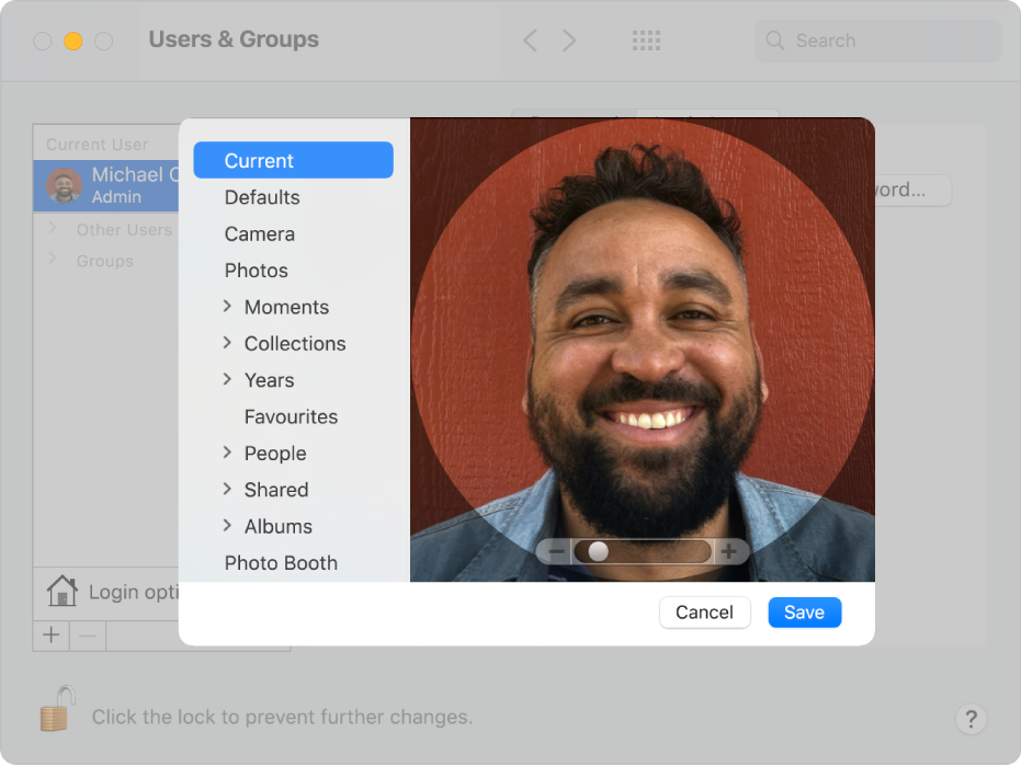 The editing options for selecting a picture for the user account. On the left is a list of possible picture sources, including Defaults, Camera and Photos.