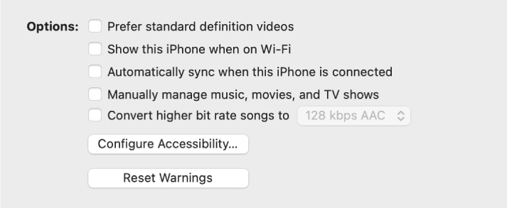 """Syncing options appear in a list of tickboxes, including the """"Prefer standard definition videos"""" and the """"Convert higher bit rate songs to"""" tickboxes"""