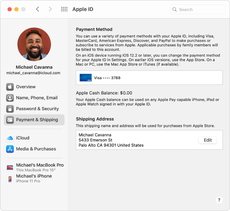 Apple ID preferences showing a sidebar of different types of account options you can use and the Payment & Shipping preferences for an existing account.