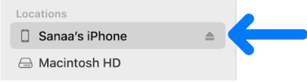 A device selected in the Finder sidebar.