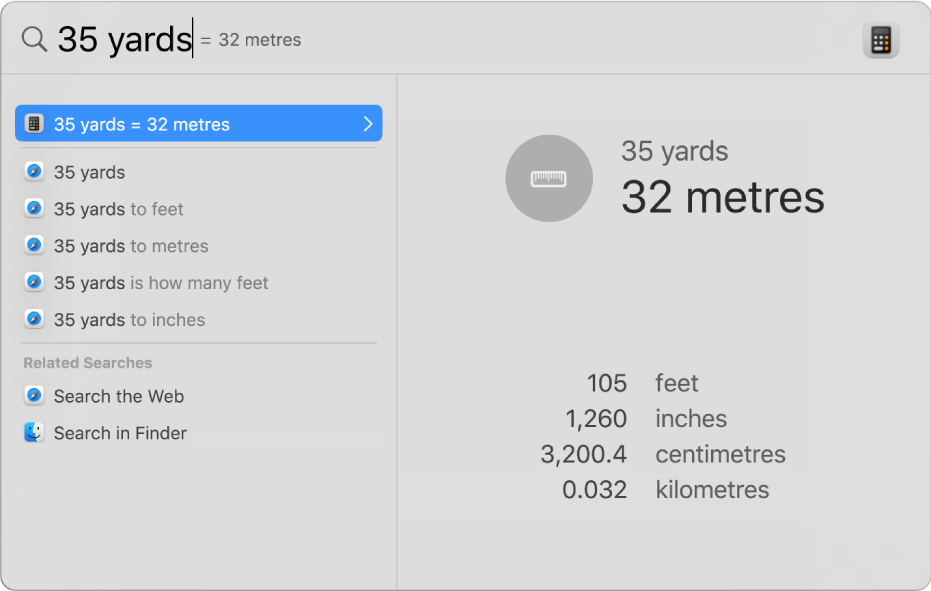 The Spotlight window showing a conversion of yards to metres in the search field. On the left is a list of search results. Additional conversions are shown in the preview on the right.