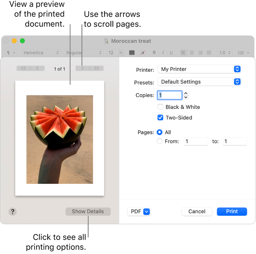 The Print dialog shows a preview of your print job. Click the Show Details button to see all print options.