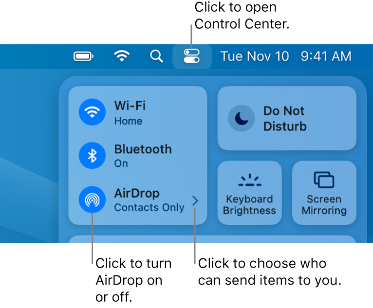 A Control Center window showing the controls to turn AirDrop on or off and choose who can send items to you.