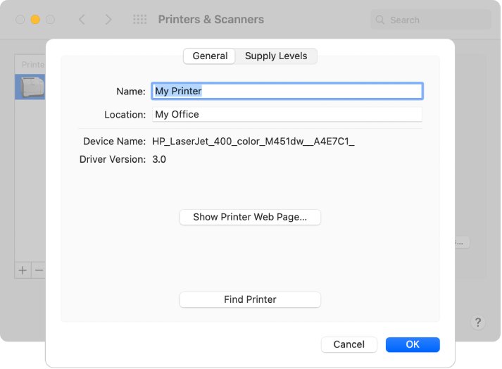 The Options & Supplies dialog showing the General tab selected and fields for specifying the name and location of the printer.
