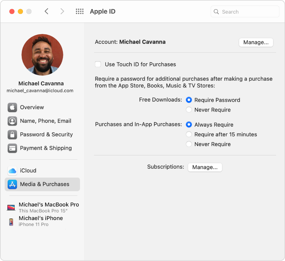 Apple ID preferences showing a sidebar of different types of account options you can use and the Media & Purchases preferences for an existing account.