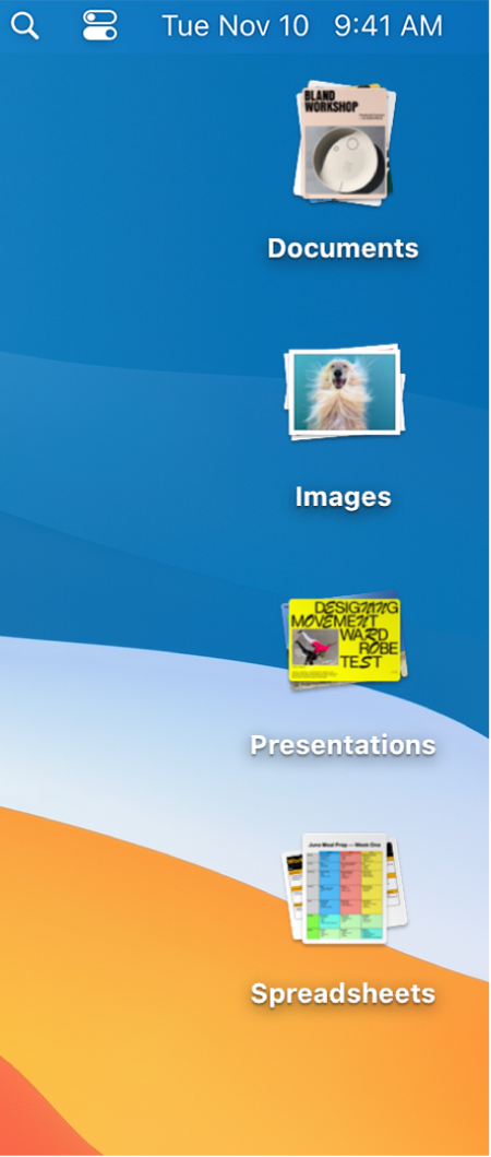 A Mac desktop with four stacks—for documents, images, presentations, and spreadsheets—along the right edge of the screen.