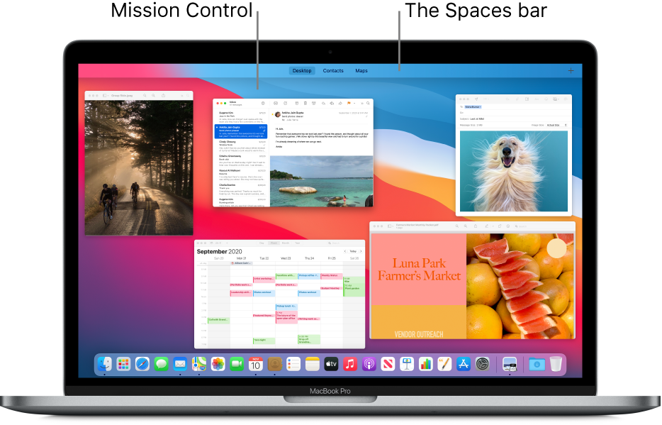 Several open windows arranged in one layer in Mission Control, with the Spaces bar at the top of the screen.