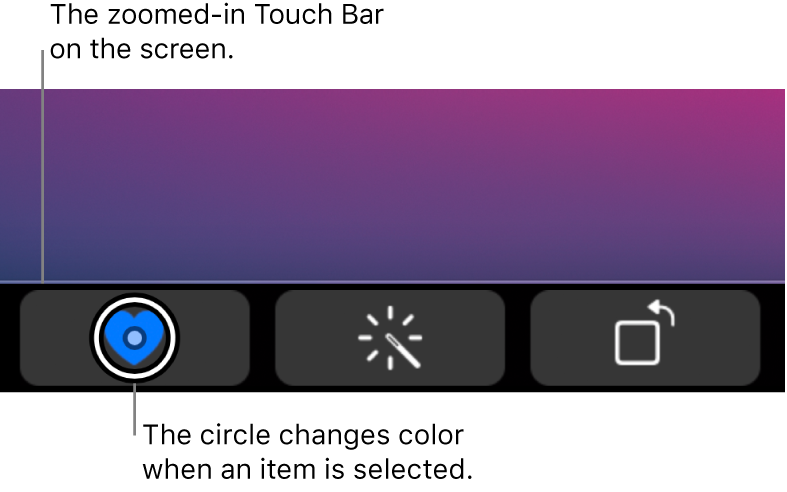 The zoomed-in Touch Bar along the bottom of the screen; the circle over a button changes when the button is selected.