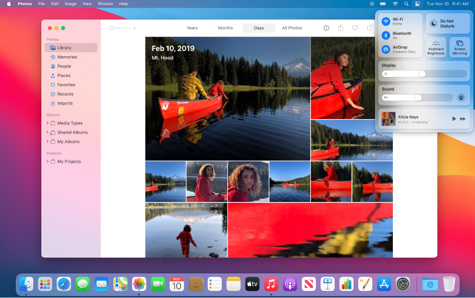 The Photos app open and ready to share photos using Screen Mirroring from Control Center, located in the top-right corner of the desktop.