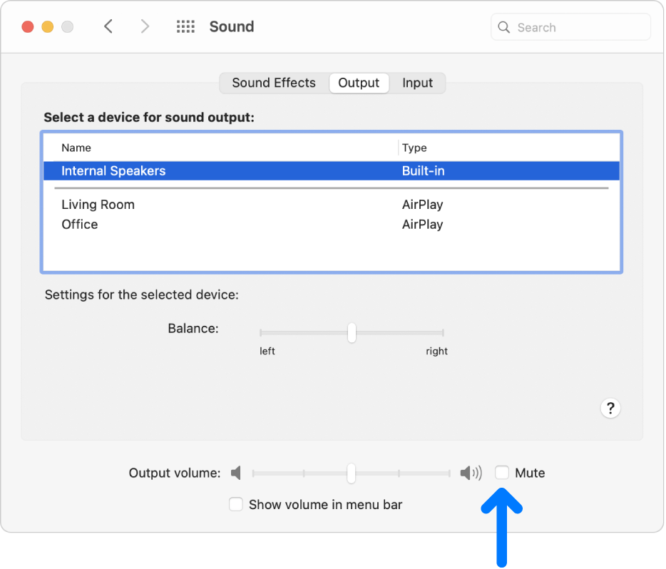 The Mute checkbox at the bottom of the Sound preferences pane.