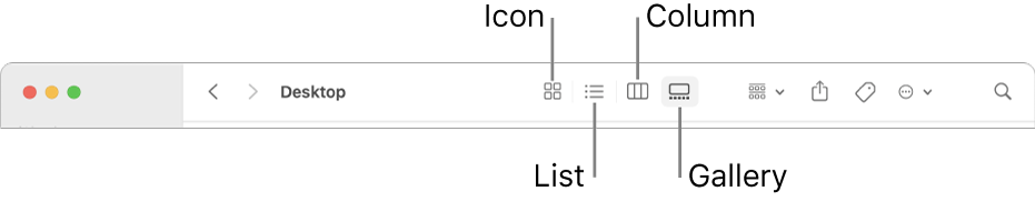 The top of a Finder window showing View option buttons for a folder.