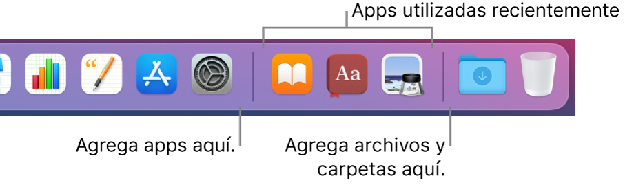 En el lado derecho del Dock se muestra la línea divisora a la derecha de la sección de apps utilizadas recientemente.