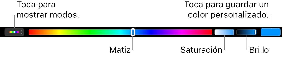 El Touch Bar mostrando los reguladores de matiz, saturación y brillo para el modo HSB. Al extremo izquierdo está el botón para mostrar todos los modos; a la derecha el botón para guardar un color personalizado.