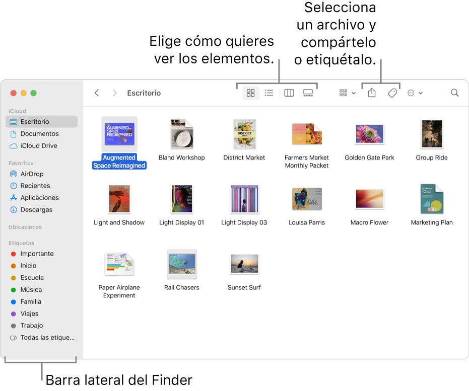 Una ventana del Finder con la barra lateral del Finder a la izquierda. En la parte superior de la ventana, hay cuatro botones que cambian la forma en que los elementos se muestran en la ventana, y botones adicionales para organizar y compartir los elementos.