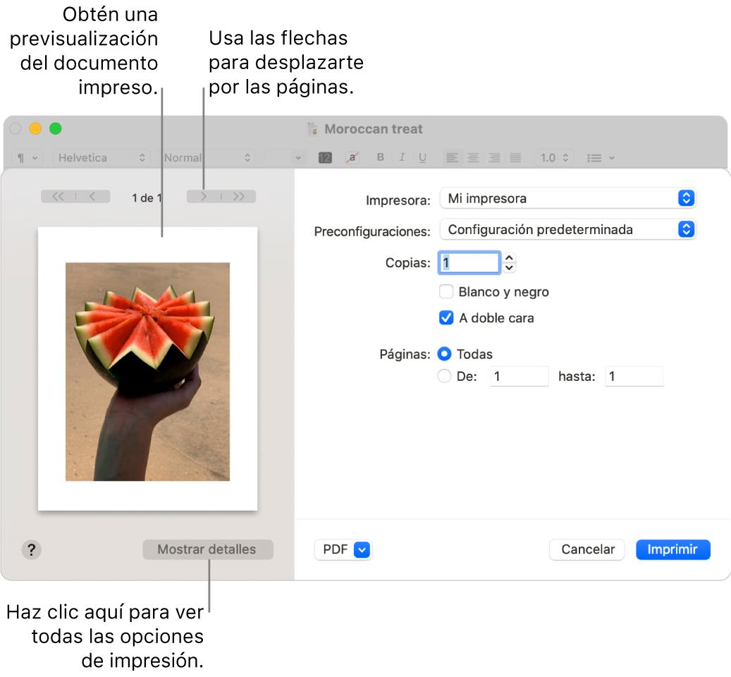 """El cuadro de diálogo Imprimir muestra una vista previa del trabajo de impresión. Haz clic en el botón """"Mostrar detalles"""" para ver todas las opciones de impresión."""