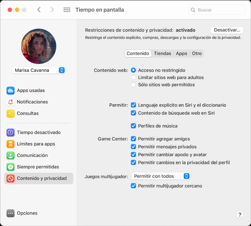 """El panel """"Restricciones de contenido y privacidad de tiempo en pantalla"""" para contenido web, Game Center, Siri y los perfiles de música seleccionados."""