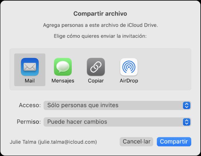 """Ventana """"Compartir archivo"""" mostrando las apps que puedes usar para hacer invitaciones y las opciones para compartir documentos."""