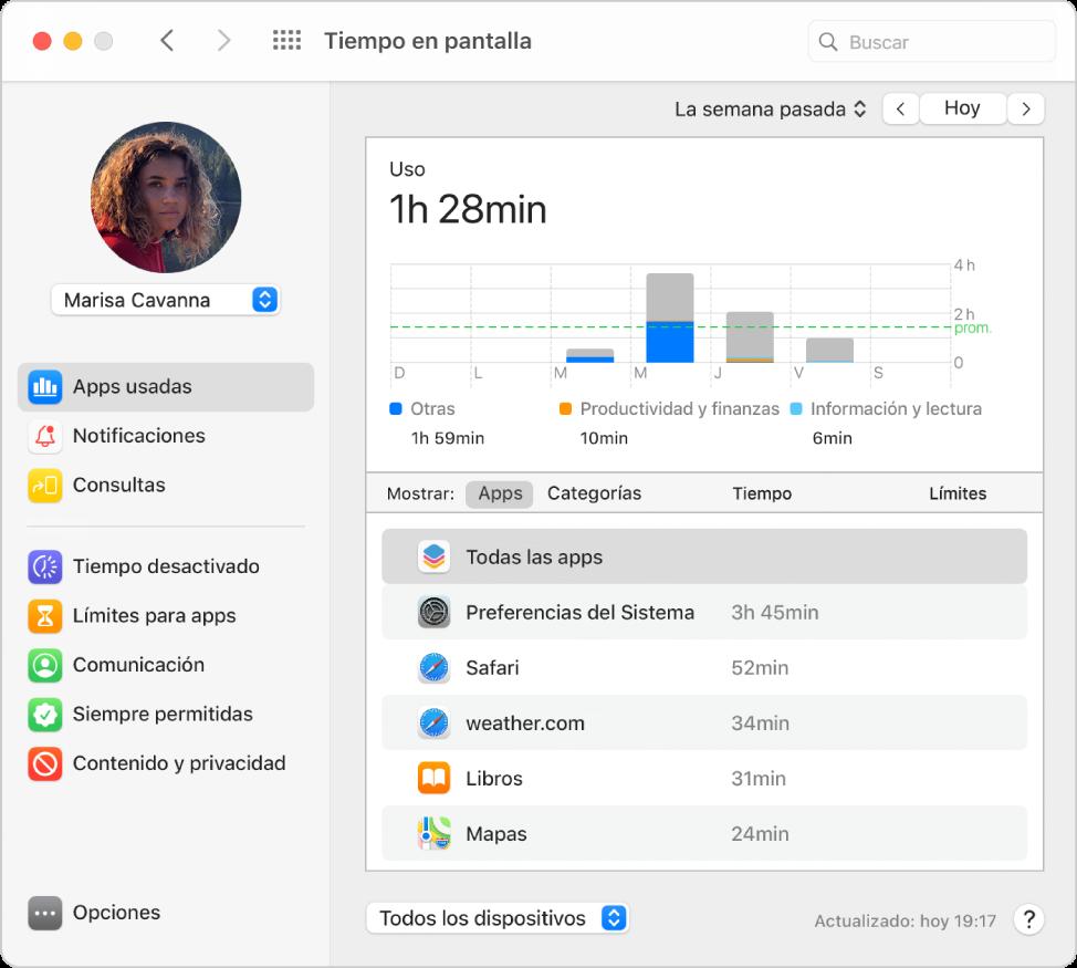 El panel Tiempo en pantalla mostrando el uso de apps de un niño en un grupo de Compartir en familia.