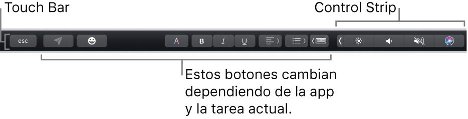 TouchBar en la parte superior del teclado, mostrando en la izquierda botones que varían según la app o la tarea y, en la derecha, la ControlStrip contraída.