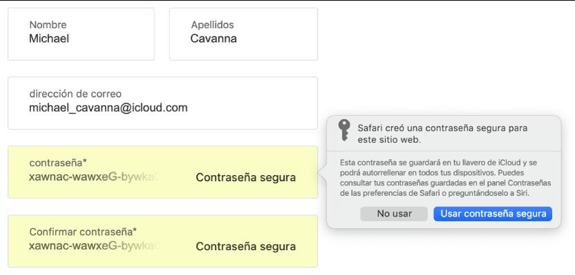 Un diálogo mostrando que Safari creó una contraseña segura para un sitio web y que se guardará en el llavero de iCloud y que estará disponible en Autorrelleno en los dispositivos del usuario.