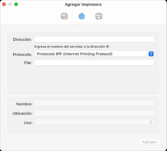 """El cuadro de diálogo """"Agregar impresora"""" mostrando las opciones para configurar una impresora con el protocolo IP."""