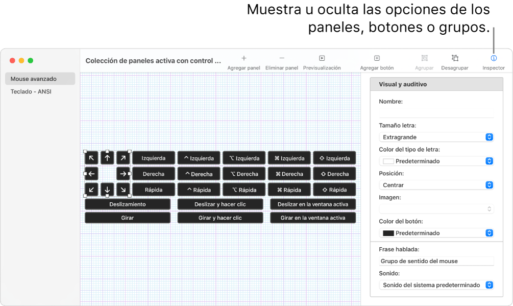Una ventana de colecciones de paneles que muestra el botón Inspector en la parte derecha de la barra de herramientas para configurar opciones para los paneles, botones y grupos.