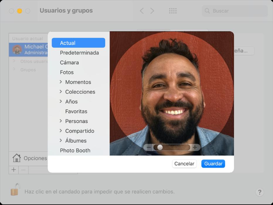 Las opciones de edición para seleccionar una foto para la cuenta del usuario. A la izquierda hay una lista de posibles fuentes de fotos, que incluyen los valores predeterminados, Cámara y Fotos.