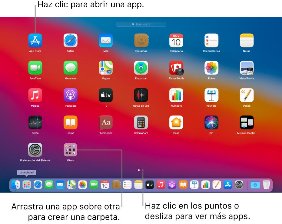 Launchpad mostrando apps que puedes abrir.