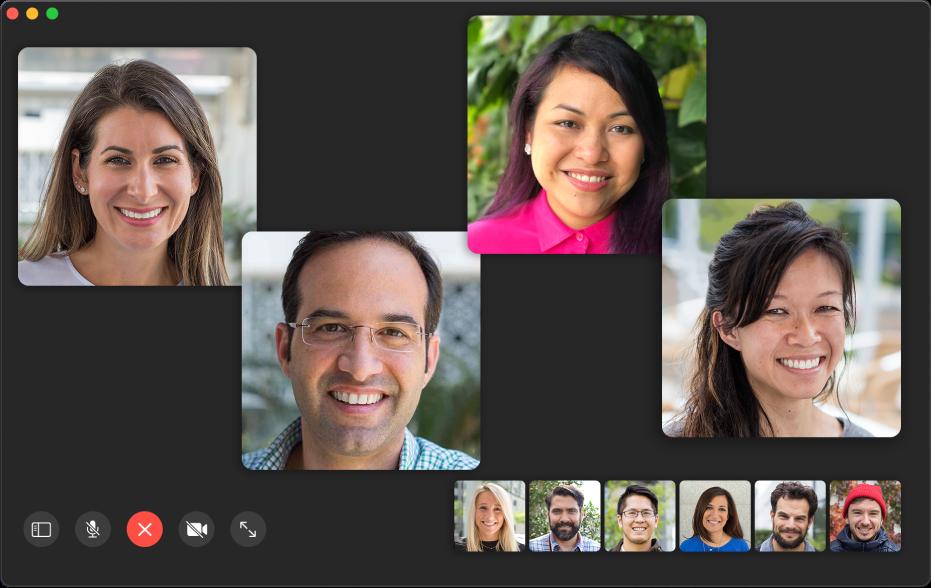 La ventana de FaceTime mostrando participantes en una llamada grupal.