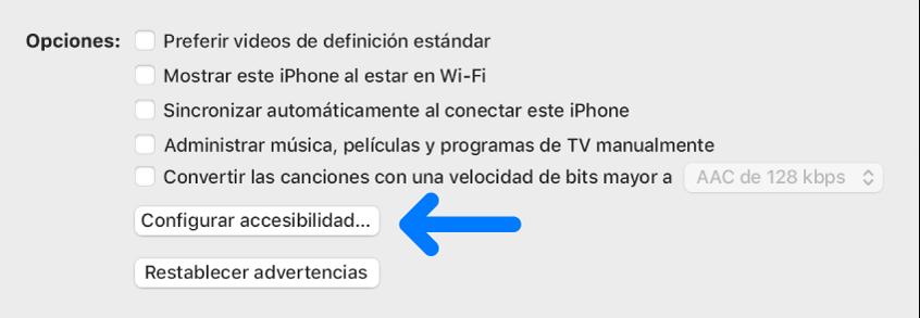Opciones de sincronización aparecen con el botón Configurar Accesibilidad identificado.