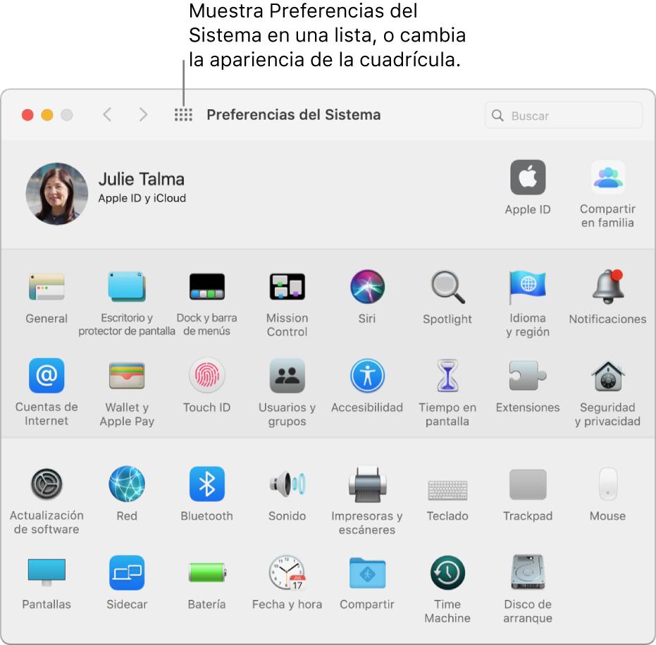 """La ventana de Preferencias del Sistema con la cuadrícula de íconos. Haz clic en el botón """"Mostrar todo"""" en la barra de herramientas de la ventana para ver las preferencias del sistema como una lista, o para cambiar el aspecto de la cuadrícula."""