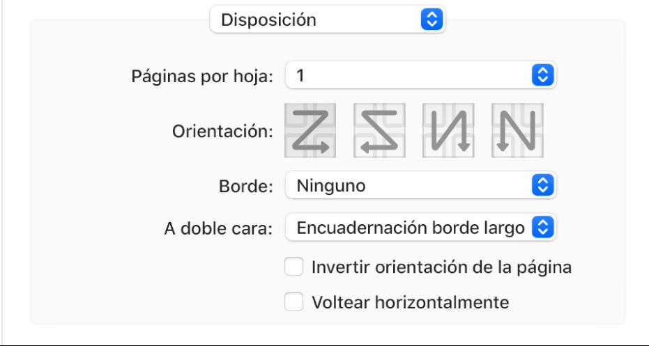 """La opción Disposición seleccionada en el menú desplegable """"Opciones de impresión"""", con la casilla Invertir en orientación de la página."""