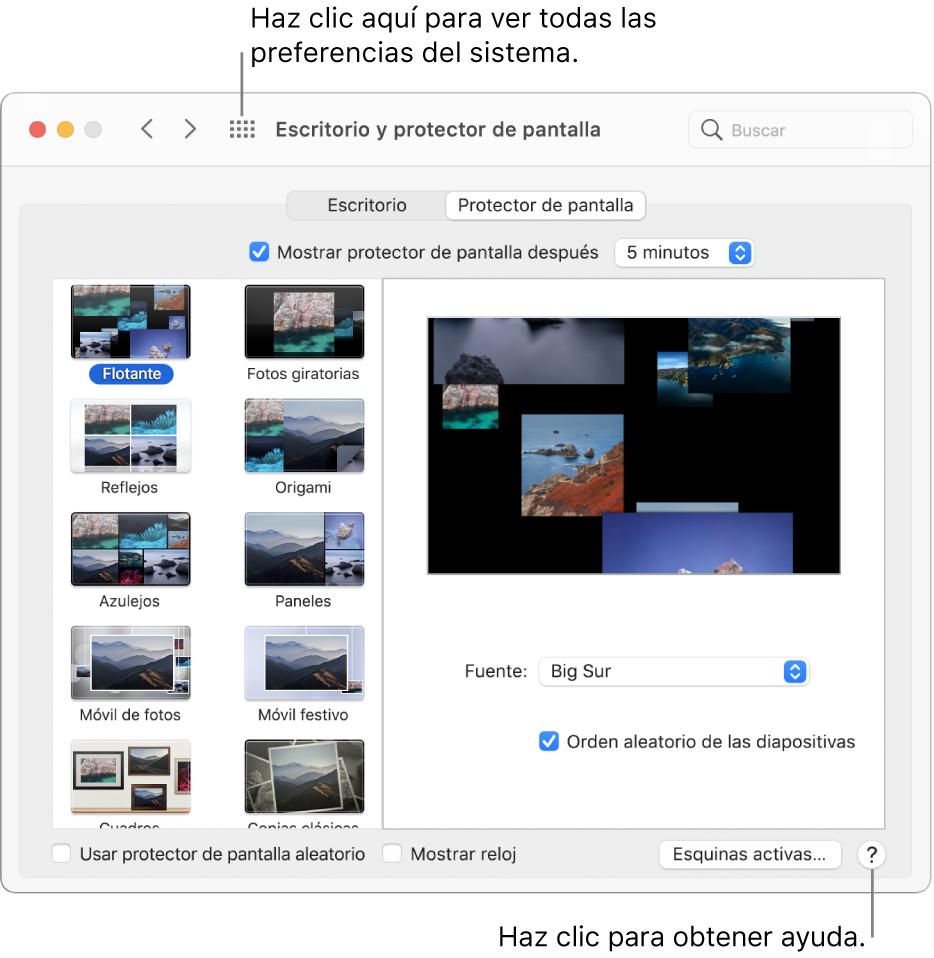 """Haz clic en el botón """"Mostrar todo"""" en la barra de herramientas de la ventana Preferencias del Sistema para ver los íconos de las preferencias. Haz clic en el botón Ayuda en la esquina inferior derecha de un panel de preferencias para obtener más información sobre el panel."""