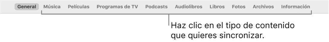 La barra de botones mostrando el botón General y los botones para contenido, como música, películas, programas de TV y más.