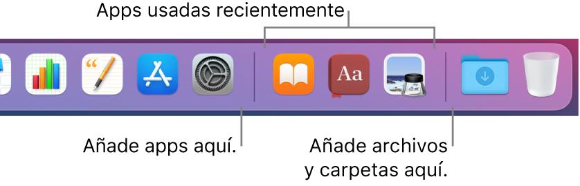 Una parte del Dock que muestra las líneas de separación entre apps, apps usadas recientemente, archivos y carpetas.