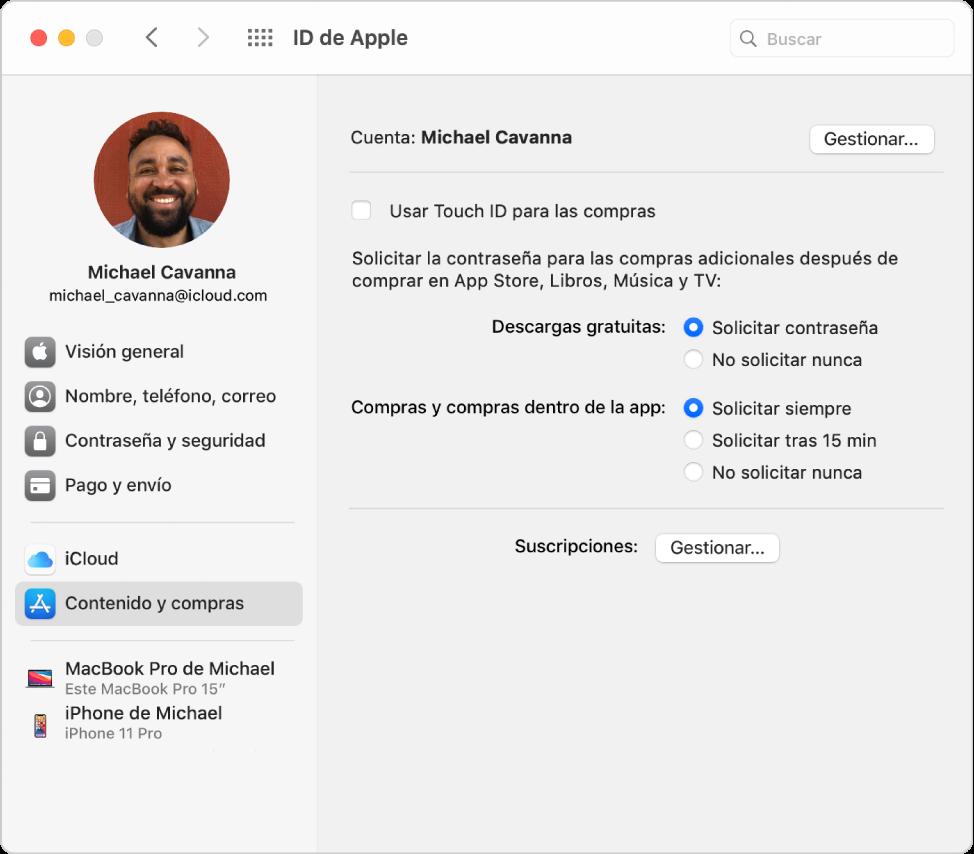 """Preferencias del IDdeApple con una barra lateral que incluye distintos tipos de opciones de cuenta que puedes usar y las preferencias de """"Contenido y compras"""" de una cuenta existente."""