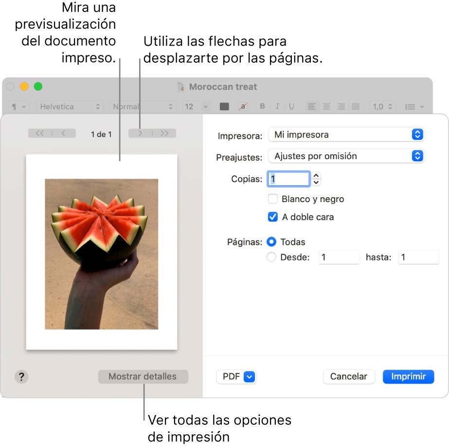 """El cuadro de diálogo Imprimir muestra una previsualización de tu tarea de impresión. Haz clic en el botón """"Mostrar detalles"""" para ver todas las opciones de impresión."""
