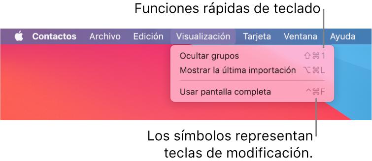La app Safari con las funciones rápidas de teclado del menú Archivo señaladas