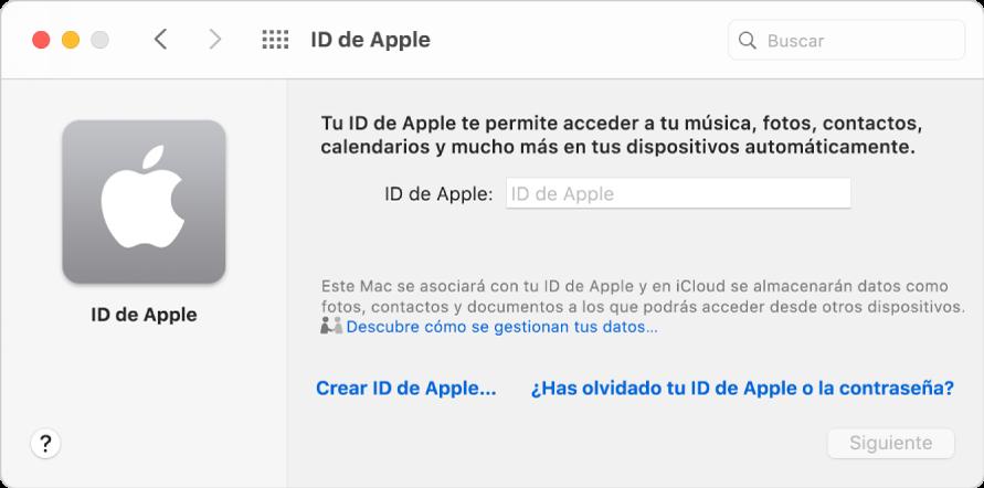 "Cuadro de diálogo del IDdeApple, listo para introducir un IDdeApple. Un enlace ""Crear IDdeApple"" te permite crear un nuevo IDdeApple."